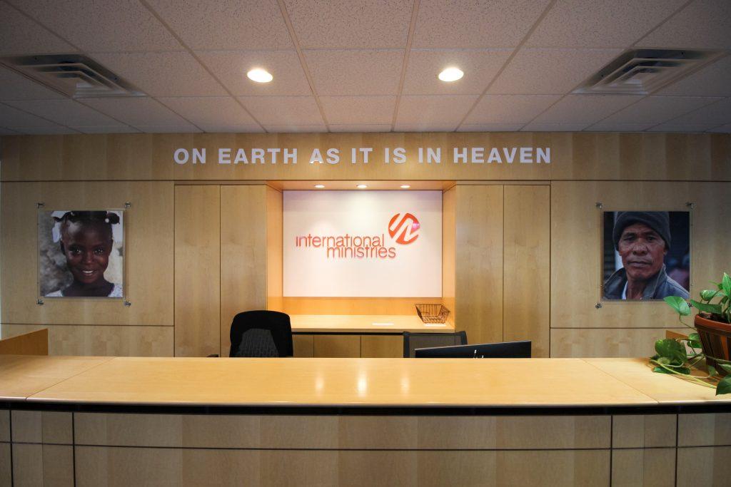 International Ministries reception desk