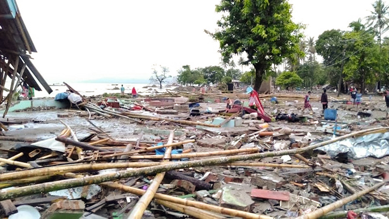 Indonesia tsunami damage December 2018