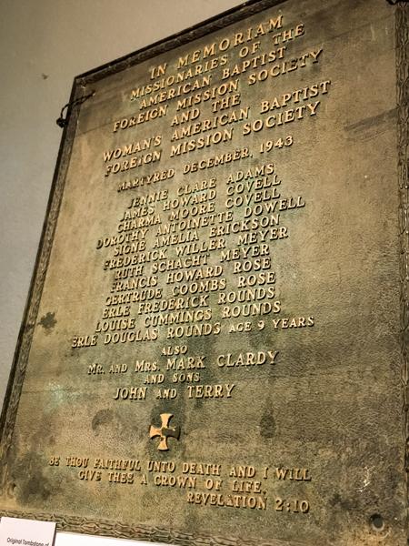 Original Memorial for Missionary Martyrs