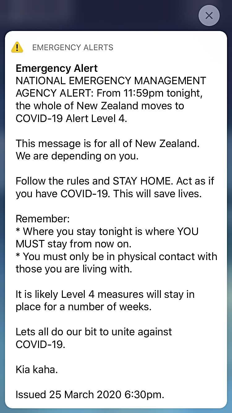 Image of emergency alert by NZ government