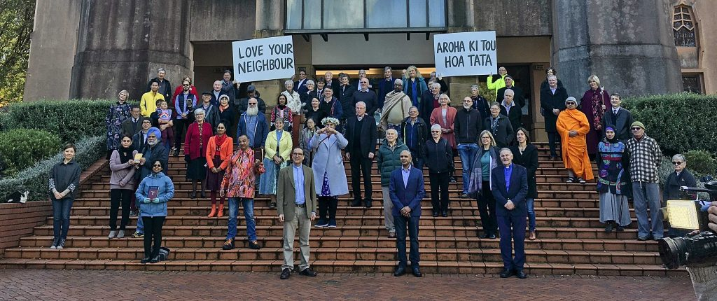 Interfaith group in front of Anglican Cathedral in Wellington
