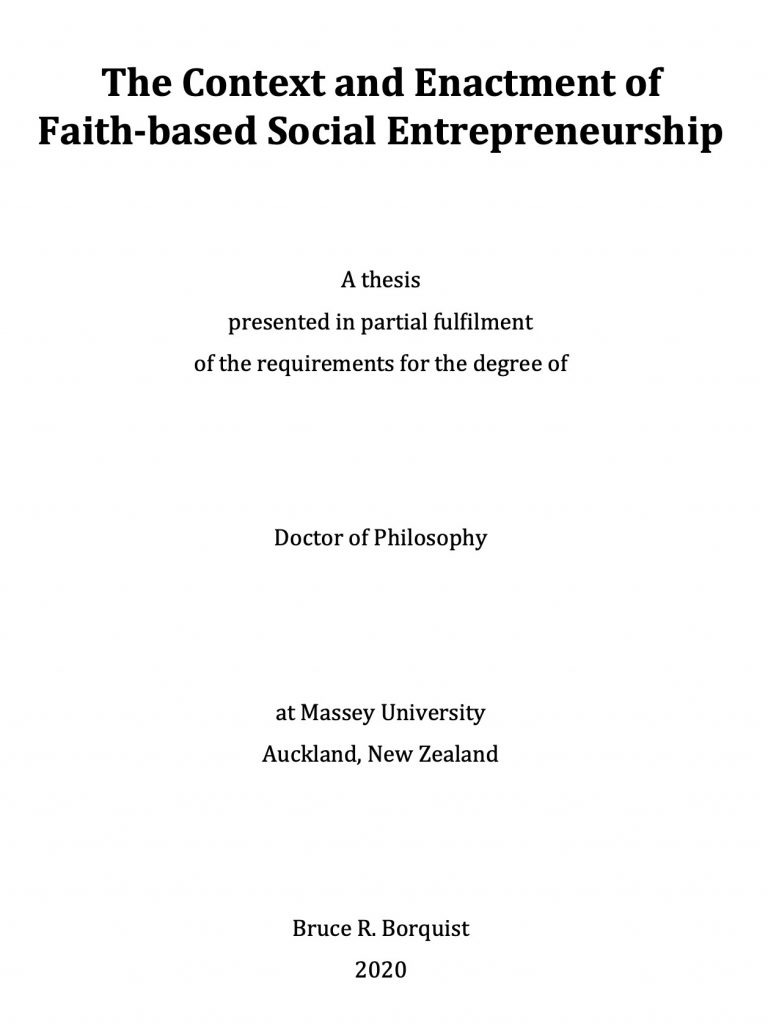 The title page of Bruce's doctoral thesis.